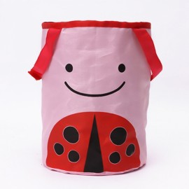 Cute Cartoon Foldable Vehicle Hanging Trash Can Waste Bin Storage Bag Pink Beetle Pattern