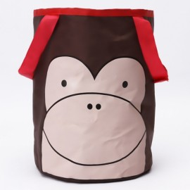 Cute Cartoon Foldable Vehicle Hanging Trash Can Waste Bin Storage Bag Brown Monkey Pattern