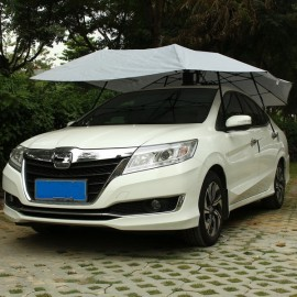 Mynew Portable Removable Semi-automatic Car Umbrella Sunshade Cover Silver