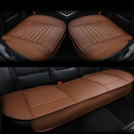 3pcs/Set 3D Leather Car Seat Cushion Car Bamboo Charcoal Single Driver Seat Cover for All Sedan Coffee