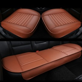 3pcs/Set 3D Leather Car Seat Cushion Car Bamboo Charcoal Single Driver Seat Cover for All Sedan Orange
