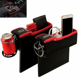 1 Pair Car Seat Gap Storage Box Money Pot Beverage Holder Left & Right