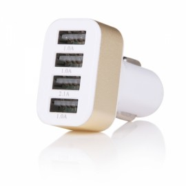 5V 5.1A 4-Port Universal Car USB Charger Adapter White & Golden (12-24V)