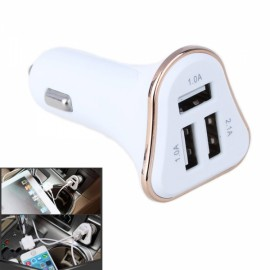 4.1A 3 USB Ports Universal Quick Charging Plating Edge Cigarette Lighter Car Charger Adapter (12-24V) Golden & White