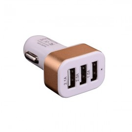 2.1A 3 USB Ports Universal Quick Charging Car Power Adapter 12-24V White & Golden