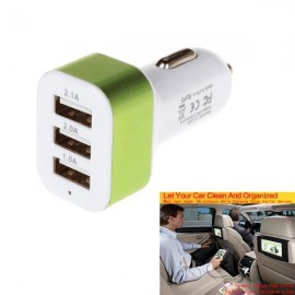 2.1A 3 USB Ports Universal Quick Charging Car Power Adapter (12-24V) White & Green