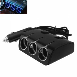 Universal 3-Way Auto Car Cigarette Lighter Socket Splitter /w USB Charger Power Adapter for Phone Tablet PC Black