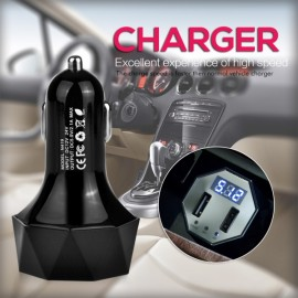 Vehicle Voltage Alert Monitor with Display Screen Multi-functional Dual-USB Vehicle Charger Black