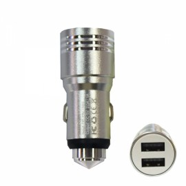 Retractable Dual USB DC12-24V Flexible Safety Hammer Charger Silver