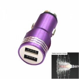 Retractable Dual USB DC12-24V Flexible Safety Hammer Charger Purple