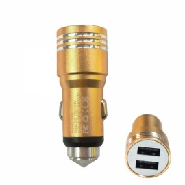 Retractable Dual USB DC12-24V Flexible Safety Hammer Charger Golden