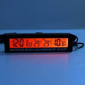 12V/24V Car Voltage Meter Thermometer LCD Digital Clock Blue & Orange Back Light Black