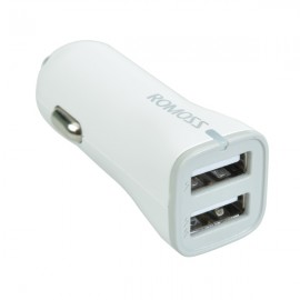 ROMOSS 2.4A Dual USB Port Car Charger for Cellphone and Tablet PC White