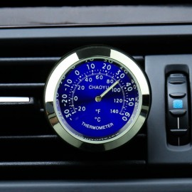 Car A/C Vent Clip Thermometer Clock Gauge Trim Perfume Refill Storage Fragrance with 140g Perfume-Blue Thermometer