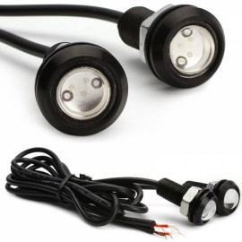 1pcs Ultra Bright Waterproof Eagle Eye LED Car Daytime Running Light 23mm 10W Black Shell White Light