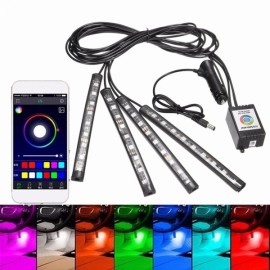 4pcs 12V Car Atmosphere Light App Control Multi-color Interior LED Strip Light Decorative Lamp