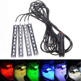 4x9LED 12V Atmostphere Light Strip Car Interior Decoration Strobe Lamp Modification Lighting Purple