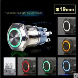12V 19mm Angel Eye Metal Illuminated LED Push Button Switch Car Dash White Light