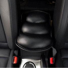 Car Center Armrest PU Leather Cushion Cover Console Soft Mat Pad Black