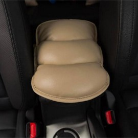 Car Center Armrest PU Leather Cushion Cover Console Soft Mat Pad Beige