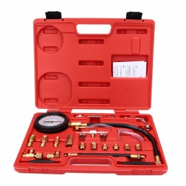 140PSI Fuel Injection Pump Pressure Tester Injector Pressure Gauge Gasoline Test Set Red