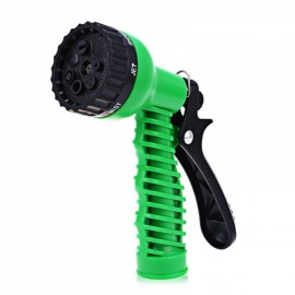 Adjustable 7 Pattern Garden Water Gun Hose Plastic Watering Nozzle Green
