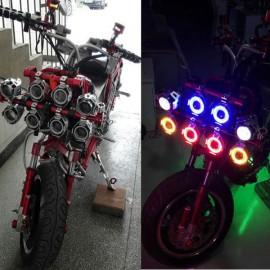 U7 Waterproof Motorcycle LED Driving Fog Light Spot Headlight Purple Lamplight Black