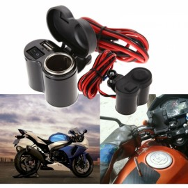 Universal 12-24V Waterproof Car Charger Motorcycle Scooter Handlebar USB Charger & Cigarette Lighter Black