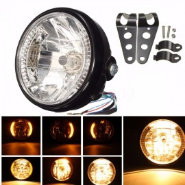 "Amber 7"" Motorcycle Headlight 35W Turn Signal Indicator Lamp W/ Bracket"