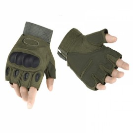 Outdoor Tactical Microfiber Half Finger Gloves for Riding Camping Hiking Army Green L