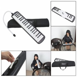 IRIN 37-Key Melodica with Mouthpiece & Hose & Bag Black