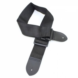 Adjustable Nylon + PU Leather Guitar Strap Belt Black