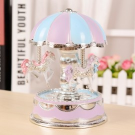Romantic Dome Carousel Music Box Birthday Christmas Gift with Light Blue