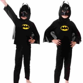 Children Party Cosplay Costume Boys Girls Kids Clothes Batman Clothing Set Halloween Gift Black L