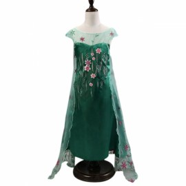Girl Snow Princess Elsa Dress Costume with Flower Glittering Cape 140cm Green