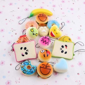 10pcs Mini Cartoon Style Squishy Soft Panda Bread Cake Buns Phone Strap Pendants Random Delivery