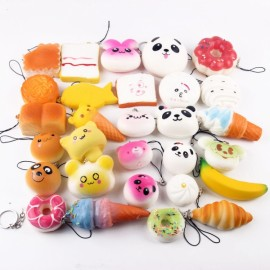 20pcs Mini Cartoon Style Squishy Soft Panda Bread Cake Buns Phone Strap Pendants Random Delivery
