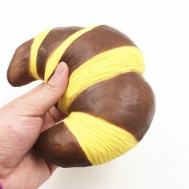 Squishy Fun Croissant Bread Super Slow Rising 18x15CM Original Packaging Squeeze Toy Fun Gift - Brown and Yellow