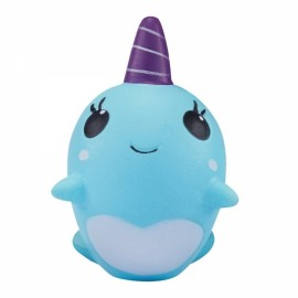 Squishy Narwhal Uni Whale 11cm Slow Rising Cute Soft Collection Gift Decor Toy - Blue