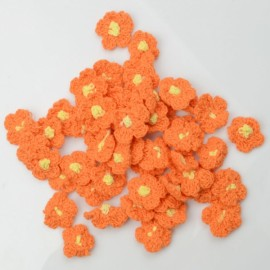 50 Pcs 25mm Handmade Crochet Flower Appliques Sewing Trim Craft Orange
