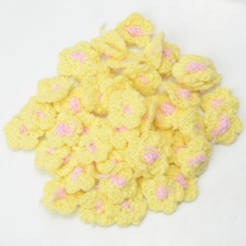 50 Pcs 25mm Handmade Crochet Flower Appliques Sewing Trim Craft Yellow