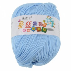 1 Skein Baby Wool Cashmere & Silk & Acrylic Hand Knit Woolen Yarn Light Blue