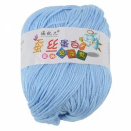 1 Skein Baby Wool Cashmere & Silk & Acrylic Hand Knit Woolen Yarn Light Blue