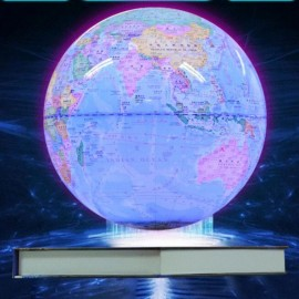 Colorful Luminous Magnetic Levitation Floating Rotating 6 inch Globe World Map with Book Base House Decor Gift Educational Toy Light Blue