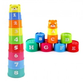 9pcs Kids Educational Toy Building Block Figure Letters Stack Up Cup Random Delivery