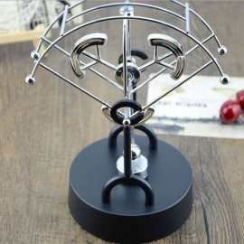 Fan-shaped Three Semicircles Style Kinetic Desk Toy Electronic Perpetual Swing Motion Art Office Decoration Silver & Black