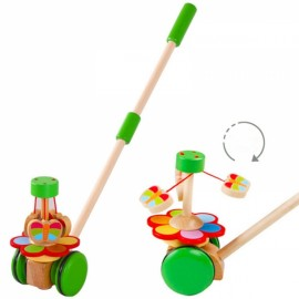Cartoon Baby Toddler Toy Trolley Baby Bouncer Car Animal Push & Pull Kids Baby Learn Walk and Play Wooden Activity Toy