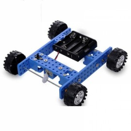 DIY Rubber Wheel Trolley Wind NO.33 Model Kit for Arduino DIY Handmade Assembling Blue & Black