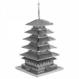 Five-storied Pagoda Model No-glue Metallic Steel Nano 3D Puzzle DIY Jigsaw Silver