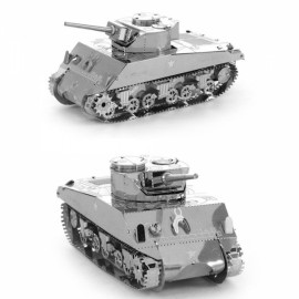 Sherman Tank Model No-glue Metallic Steel Nano 3D Puzzle DIY Jigsaw Silver